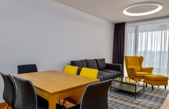 For rent newly furnished three bedroom apartment in a building with garden